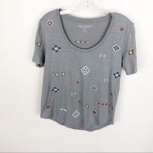 Lucky Gray Aztec Embroidered Short Sleeve T Shirt